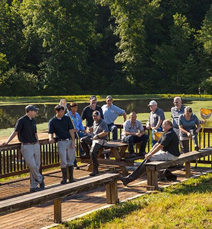 Employees enjoy the wetlands area at one of our plants.