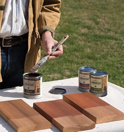 Pint samples of ARBORCOAT are a smart way to audition your stains; use them on the actual wood you'll be coating to see true colour accuracy.