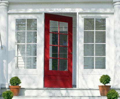 Traditional, All-American front door with vinyl siding