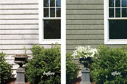 The impact that UV light and weather have on vinyl siding is shown.