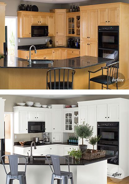 A before and after of the same kitchen features an all-white makeover using ADVANCE® Interior Paint.