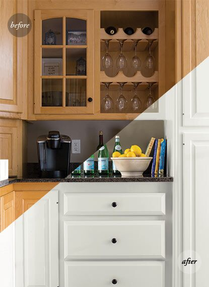A before and after of a built-in wine rack, glass-panelled cabinet and kitchen drawers showcase an all-white makeover using ADVANCE® Interior Paint.