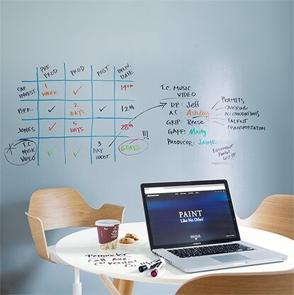 Home office with Notable® Dry Erase ink walls