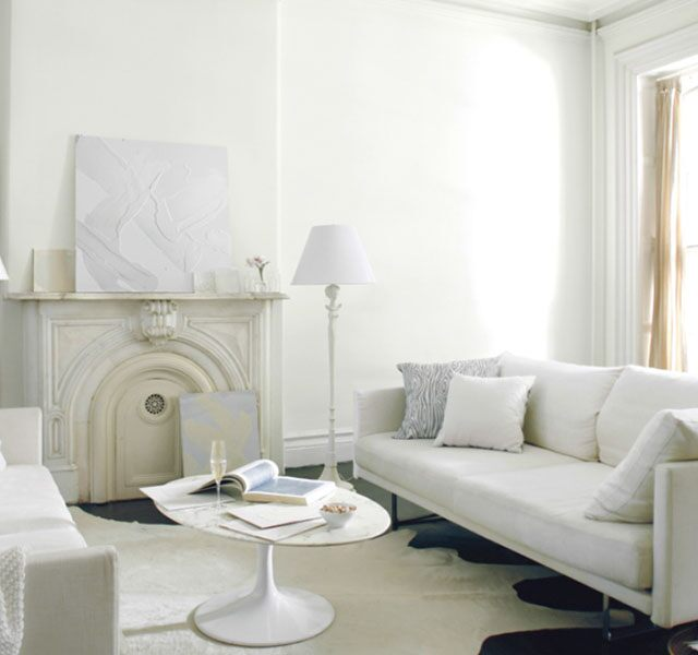 Relaxing living room with white-on-white color scheme