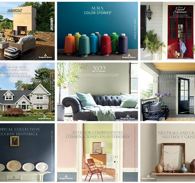A collage of Benjamin Moore color brochures, all of which offer expert paint color advice and inspiration.
