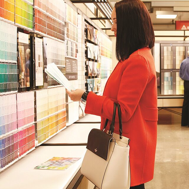Benjamin Moore store customers review color, color chips and other color selection tools.