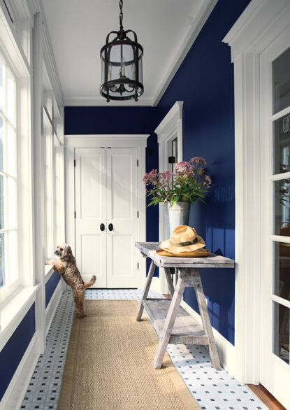 A dark blue-painted hallway with white trim and pendant lighting fixture.