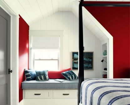 Caliente Red paint color on bedroom walls