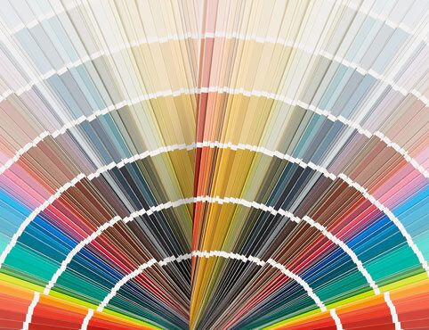 A fan deck of paint colors represents all color families.