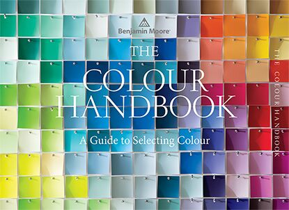 The cover of The Colour Handbook, A Guide to Selecting Colour, features a range of paint colours pinned together, creating a mosaic like effect; The Colour Handbook is available at over 5,000 independent Benjamin Moore retailers nationwide.