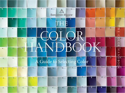 The cover of The Color Handbook, A Guide to Selecting Color, features a range of paint colors pinned together, creating a mosaic like effect; The Color Handbook is available at over 5,000 independent Benjamin Moore retailers nationwide.