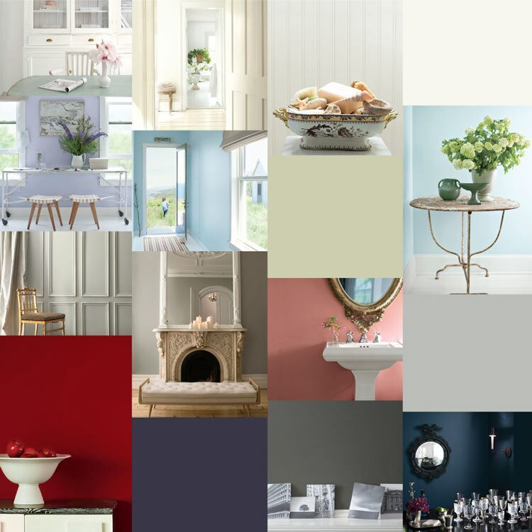 A collection of walls painted with Benjamin Moore's past Color of the Year selections