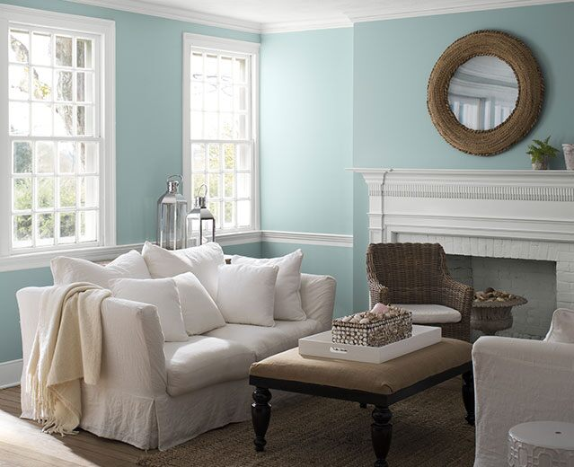A living room painted in Gossamer Blue 2123-40 to show the impact of cool paint colours.