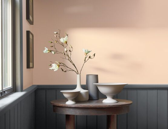 A light peach-painted room contrasted by dark gray wainscoting.