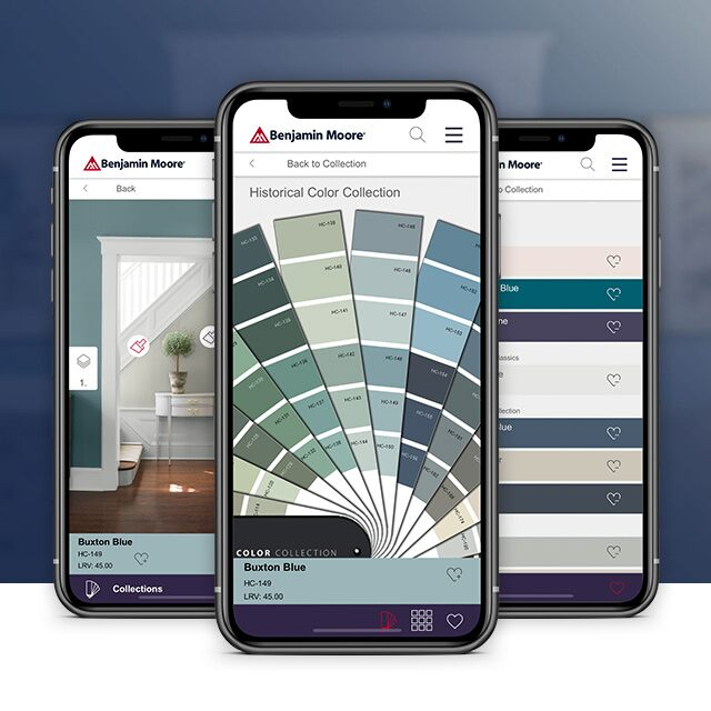Three smart phones with visuals of the Benjamin Moore Color Portfolio™ app.