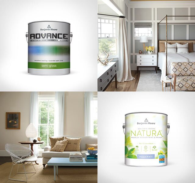 Individual cans of ADVANCE® Interior Paint, Benjamin Moore NaturaTM Paint and ben® Interior Paint are interspersed between interior photos of a living room, bedroom, kitchen and dining room.