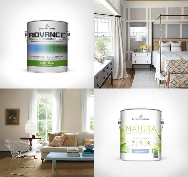 Individual cans of ADVANCE® Interior Paint, NATURA® Paint and ben® Interior Paint are interspersed between interior photos of a bedroom, living room, kitchen and dining room.