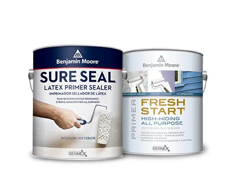 Benjamin Moore Sure Seal Latex Primer Sealer and Fresh Start Interior Primer.