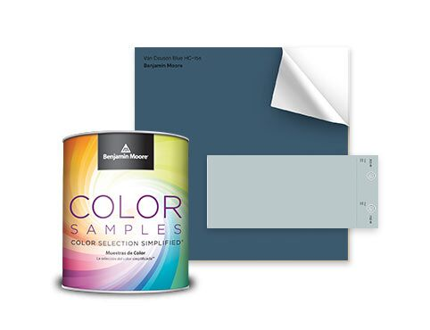 A pint-sized Benjamin Moore Color Sample, blue peel-and-stick sample, and gray color swatch.