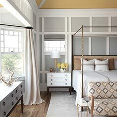 Cozy bedroom with bay windows