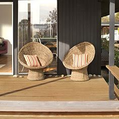 Relaxing deck space with Montauk chairs