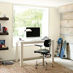 Sunny workspace with wood accent wall