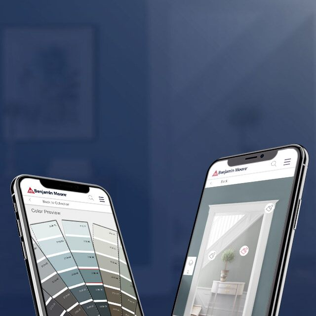 Two smart phones with visuals of the Benjamin Moore Color PortfolioTM app.