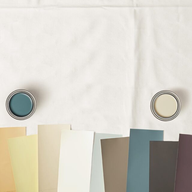 An array of paint swatches and two color samples.