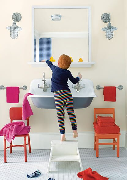 A kid's bathroom features a range of paint colours, all of which are strengthened by Gennex® Colour Technology.