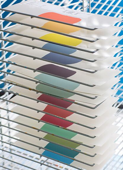 A drying rack from our research and development facility features just a few of Benjamin Moore's 3,500+ colours.