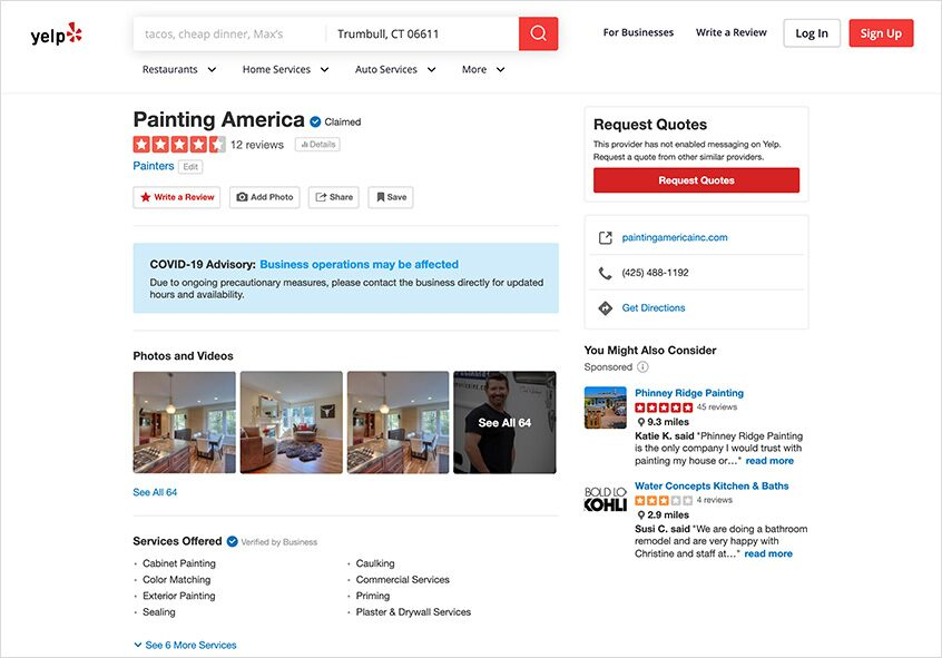 Sample Yelp profile for painting business.