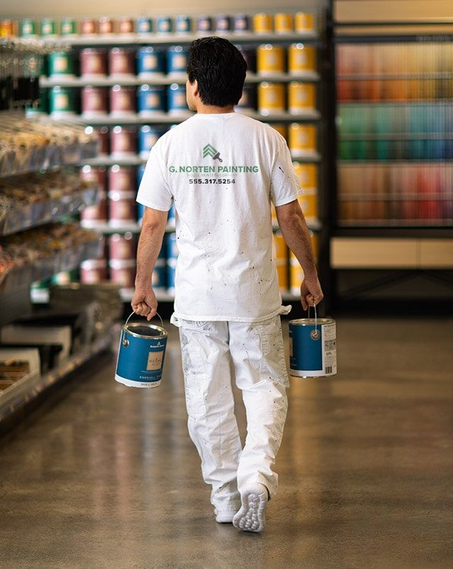 A painting contractor purchasing Benjamin Moore paint.