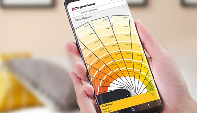 Benjamin Moore® Color Preview® paint swatches on a mobile device.