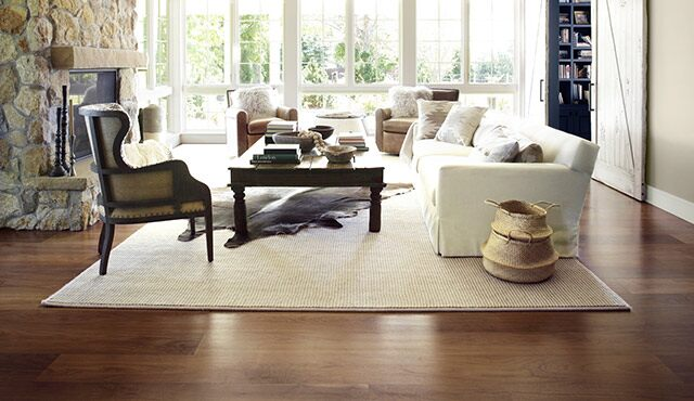 A beautiful dark refinished living room floor.