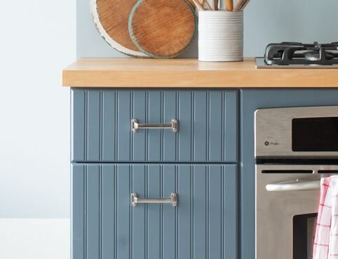 Repainted blue kitchen cabinets