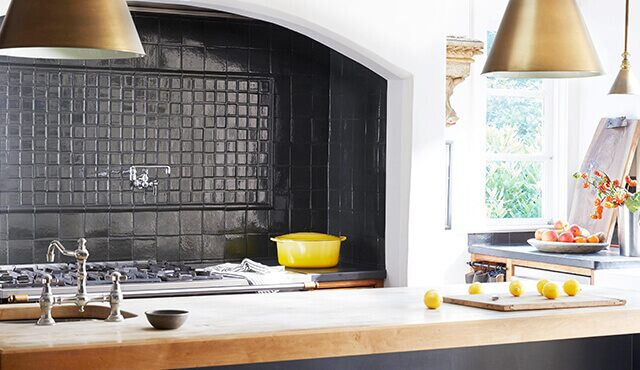 Beautifully painted tiled kitchen backsplash
