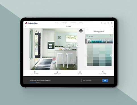 The Benjamin Moore Color Tools page open on a tablet.