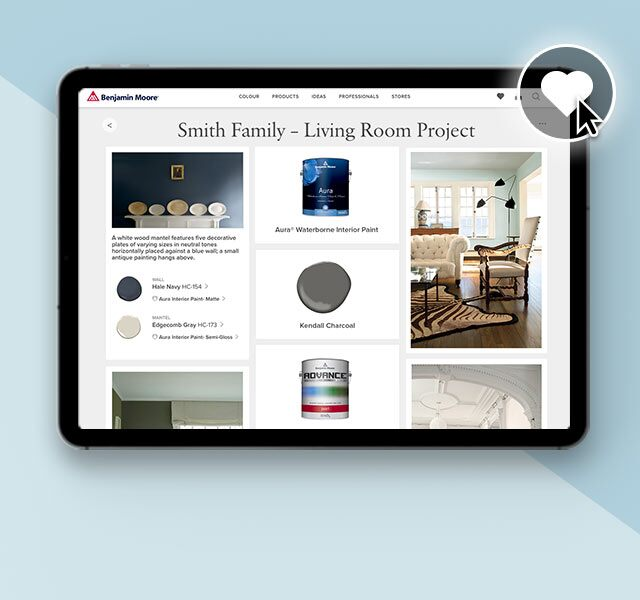 The favourites icon on a saved on an image on the Benjamin Moore website