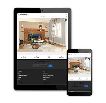 A webpage on a tablet and mobile phone are open to Benjamin Moore's Color a Room tool.