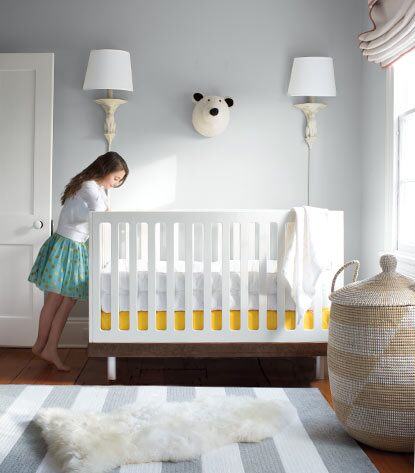 A nursery is painted in zero-VOC Benjamin Moore paint  tinted with Gennex® colorant.