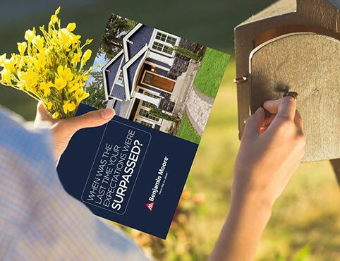 An advertisement for Benjamin Moore Contractor Marketing Solutions appears in a mailbox.