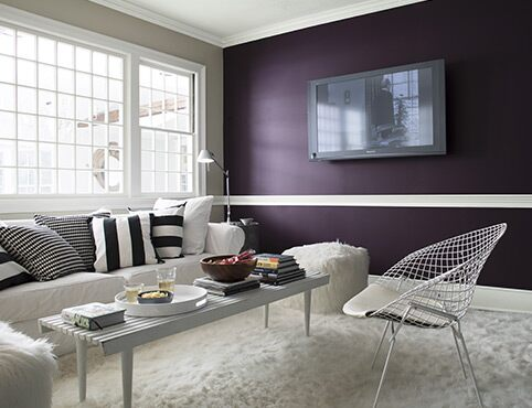 Deep purple accent wall with flat screen TV in a contemporary living room.