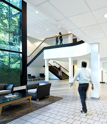 A clean, scuff-free corporate atrium helps keep maintenance costs down.