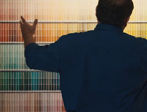 A contractor surveying a host of paint colour swatches